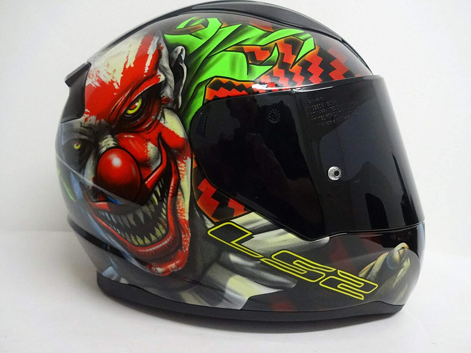 S Dark Tinted Visor Full Face Motorbike Helmet Motorcycle Adult Rider Biker Sports Crash Helmet LS2 FF353 RAPID HAPPY DREAMS GLOW-IN-THE-DARK SCARY CLOWN