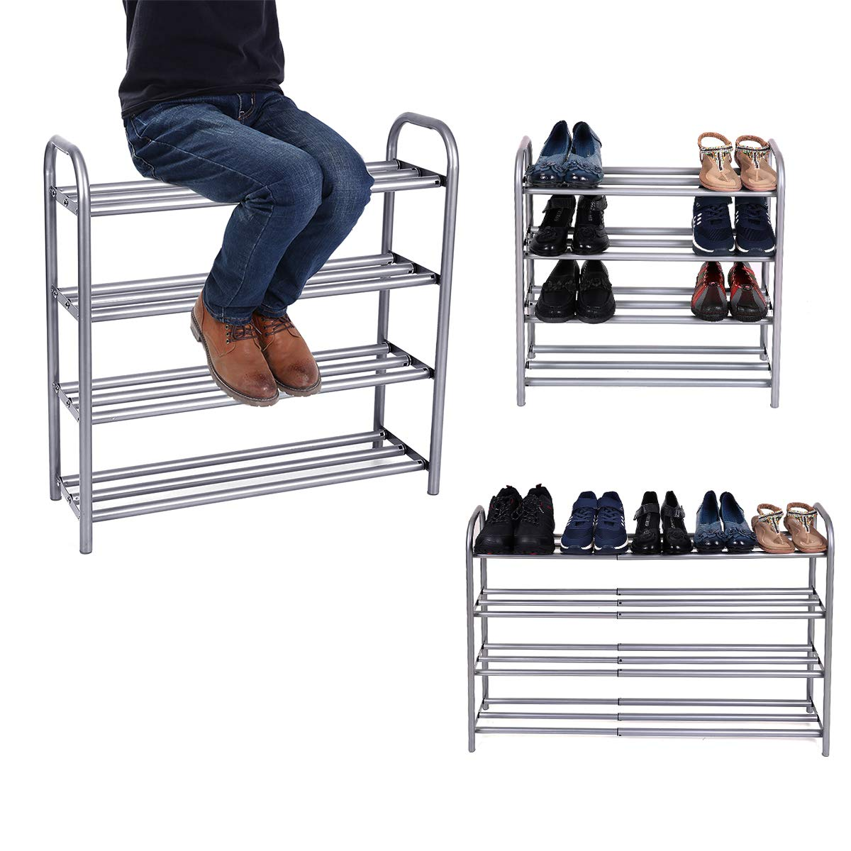 "GEMITTO 4 Layers Extendable Shoe Organiser Rack Heavy Duty Shoe Stand Storage Rack Coated Painted Silver Grey 23.62""-41.73""x8.86""x24.21"""