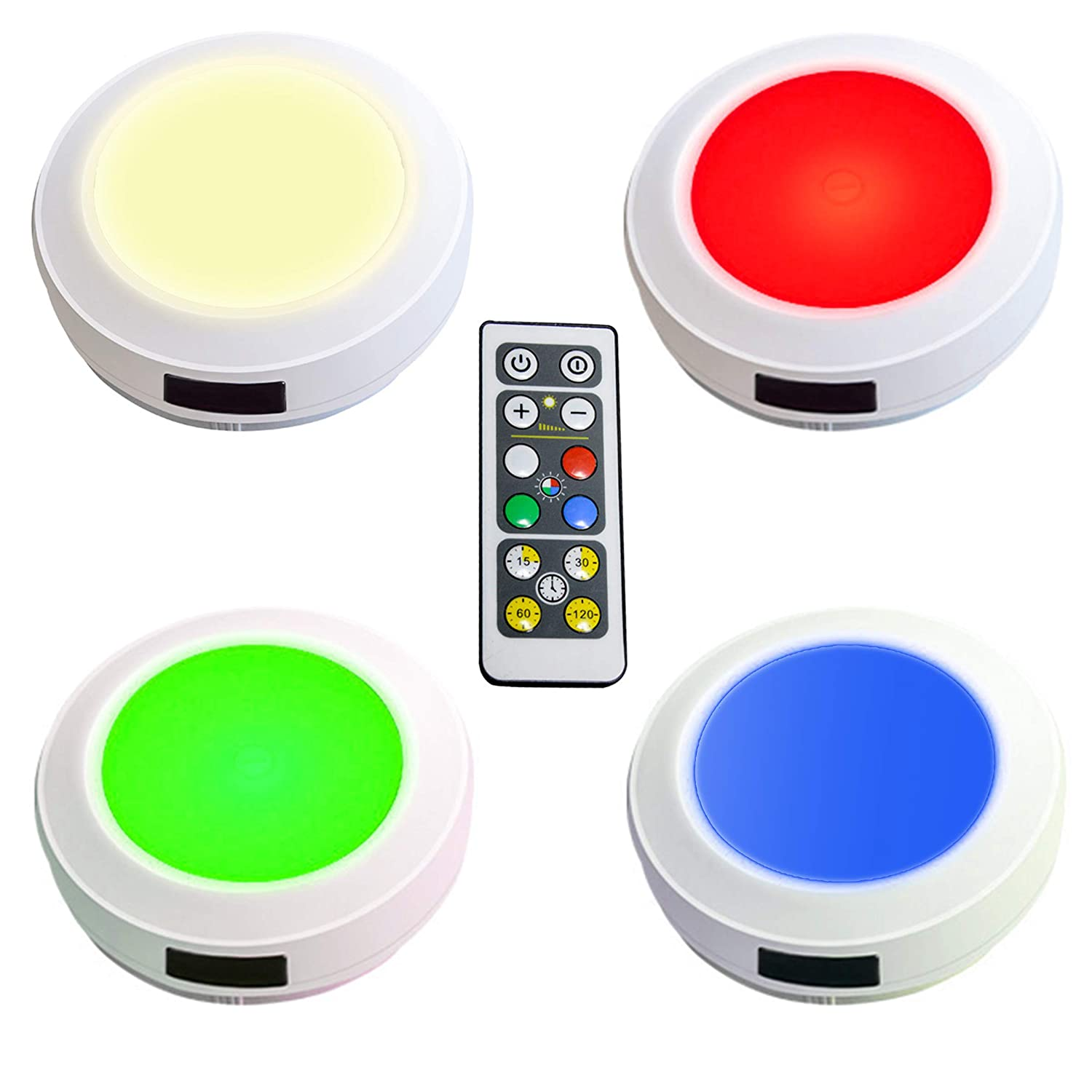 HONWELL Push Light RGB Lights Puck Lights with Remote Battery Operated Lights Wireless Touch Lights Tap Light Dimmable Closet Lights Under Cabinet Counter Lights Stick on Lights (4 Color)