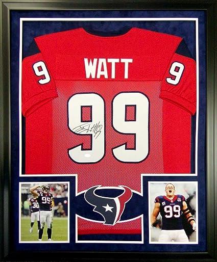JJ Watt Houston Texans Autograph Signed Custom Framed Jersey Suede Mat Red JSA  Witnessed Certified 79725e729