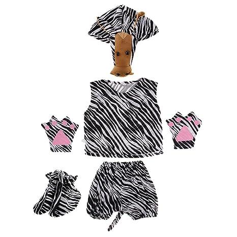 MagiDeal Traje de Disfraz de Cebra Niños Unisexo Entretenimiento Gorra Camisa Pantalones Cortos Guantes Zapatos para Halloween Cosplay