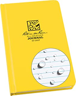 """product image for Rite In The Rain Weatherproof Hard Cover Notebook, 4.75"""" x 7.5""""x 0.625, Yellow Cover, Journal Pattern (No. 390F)"""