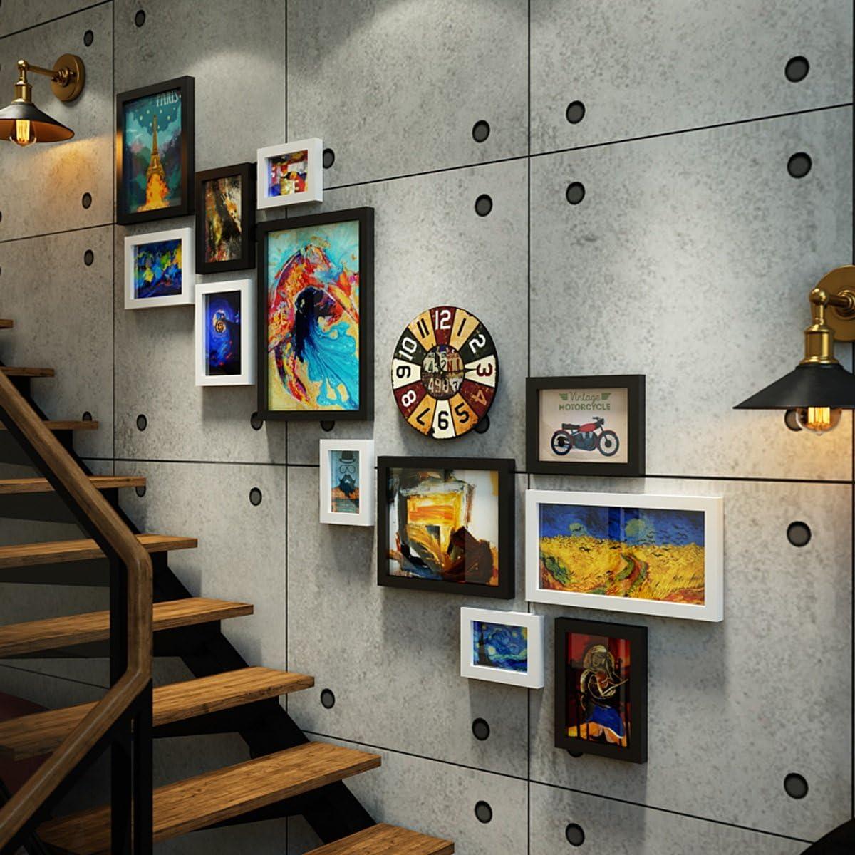 QXX Marco de Fotos Collage Foto Pared Loft Industrial Estilo Escalera Combinación Marco Pared Retro Reloj Fondo Pared Decorativo Pintura 12 Marco, Negro + Blanco (54.7 * 48.4 Pulgadas): Amazon.es: Hogar