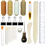 Bookbinding Tools Kits,Sewing Tools for Leather,Bone Folder Paper Creaser,Waxed Thread,Wood Handle Awl,Large-Eye Needles…