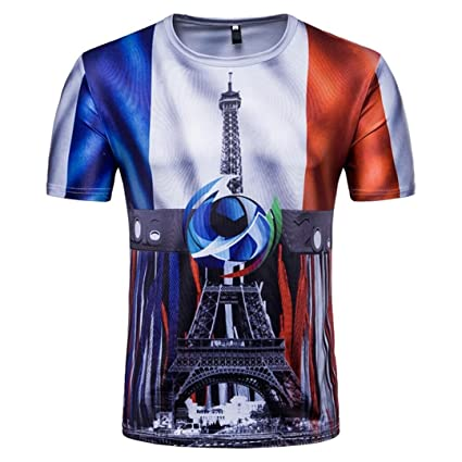 LuckyGirls Camisetas Hombre Originales Estampado de Fútbol Verano Manga Corta Camisas para Copa Mundial FIFA 2018