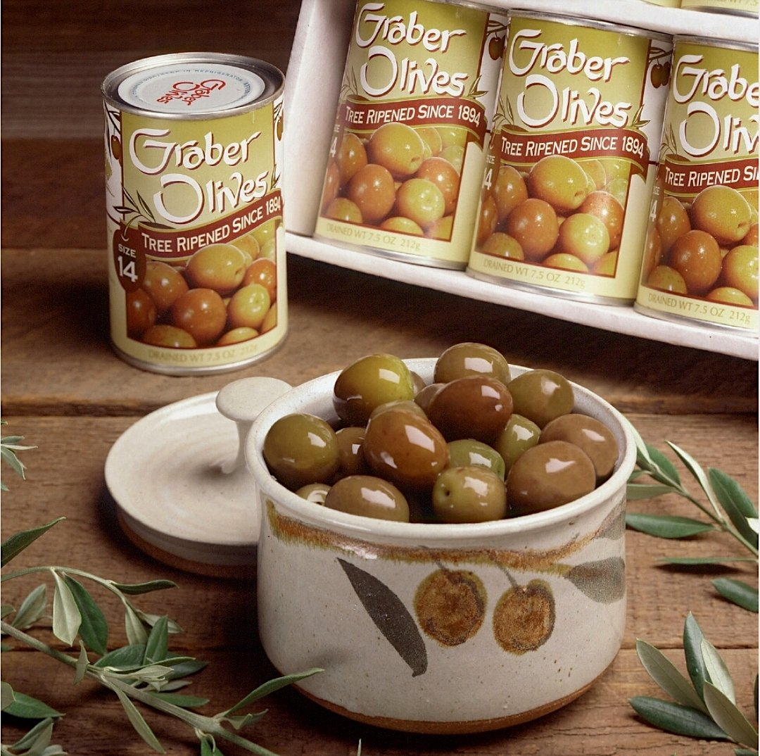 Graber, Tree Ripened Olives, 7.5 Ounce (Pack Of 6) (Size 14) - Gourmet California Olives, Hand Picked Delivered Fresh. Graber Olive House Cultivating Award Winning Olives Since 1894