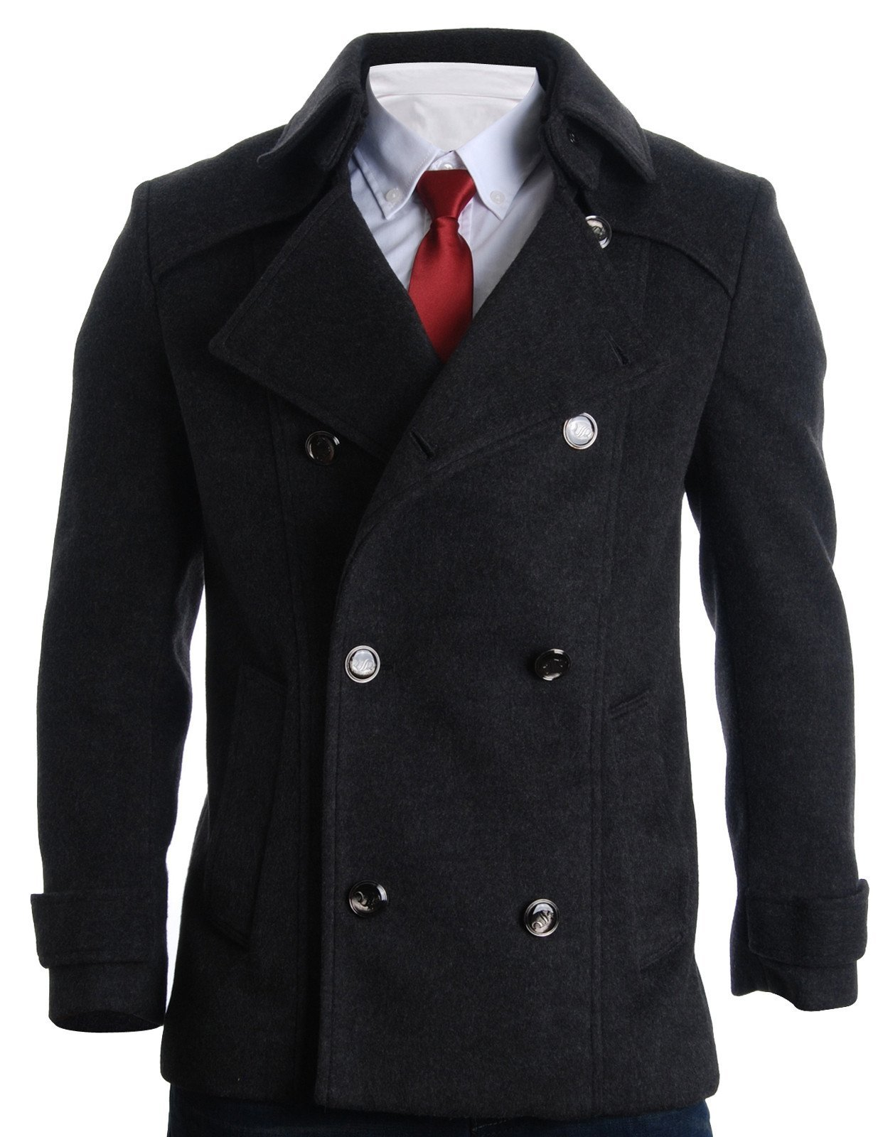 FLATSEVEN Mens Detachable Collar Double Breasted Pea Coat (CT123) Charcoal, US XS/Asia M