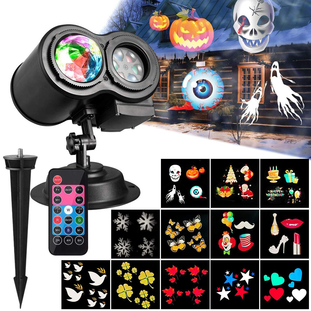 [Upgraded Version] Xmas Halloween Projector Light,TECKCOOL 3D LED Projector with Water Wave Light,12 Slides,Waterproof IP44,Perfect Gift for Christmas,Halloween,Holiday,Party,Lawn,Yard,Garden etc.