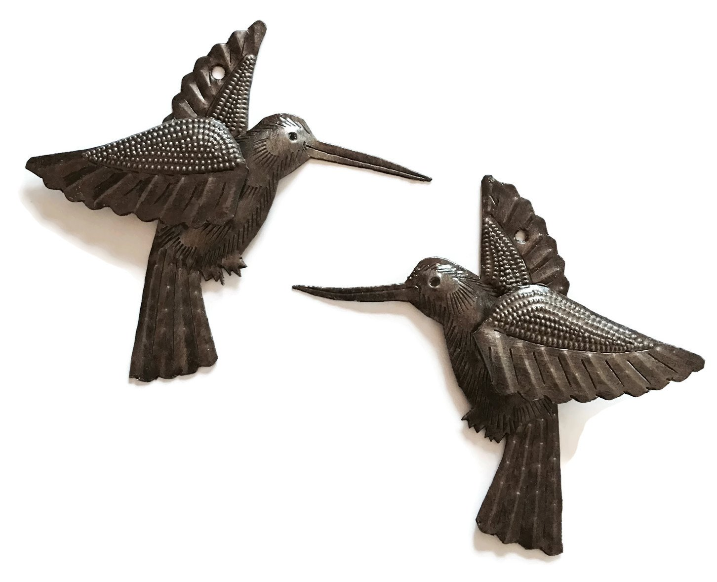 "Hummingbirds, Nature Inspired Haitian Recycled Metal Drum Wall Art, Novelty Gift (set of 2) 6"" x 5.5"""