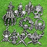 10 Pcs Mixed Tibetan Silver Skull Charms Pendants