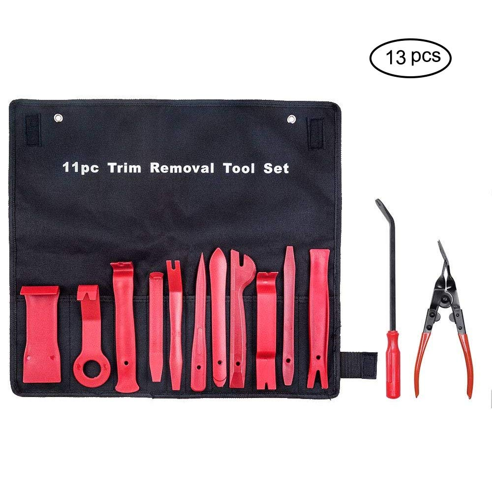 Car Trim Removal Tool Mookis Auto Trim Removal Pry Tool Set Kit for Auto Window Door Panel Molding Radio Audio Repair and Install (13Pcs Red)