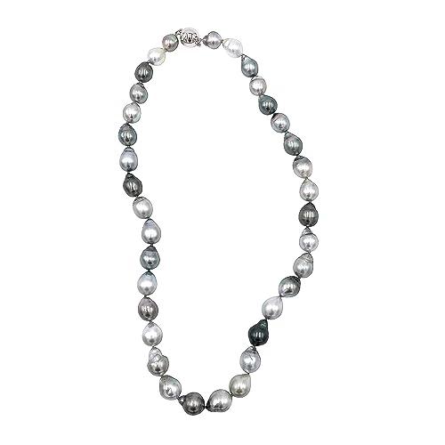 694073baabeb Pearl Caviar - Collar de perlas de Tahiti. Calidad Exclusive AAAA + - Color  Gris Natural - Cierre Plata 925 brillante - enfilage sobre hilo de seda  ...