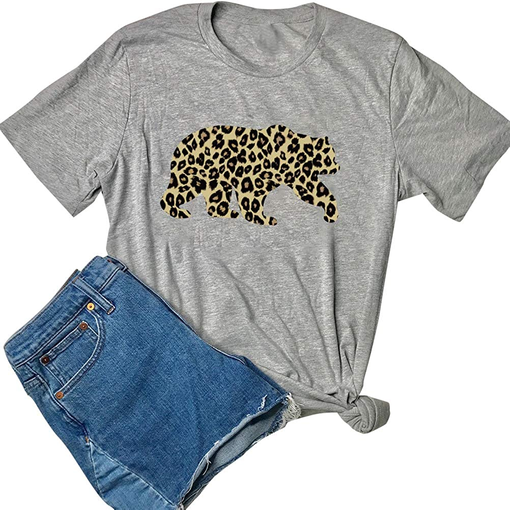 XIANGLIOOD Womens Mama Bear Leopard Print Casual Short Sleeve Round T-Shirt Tee Tops