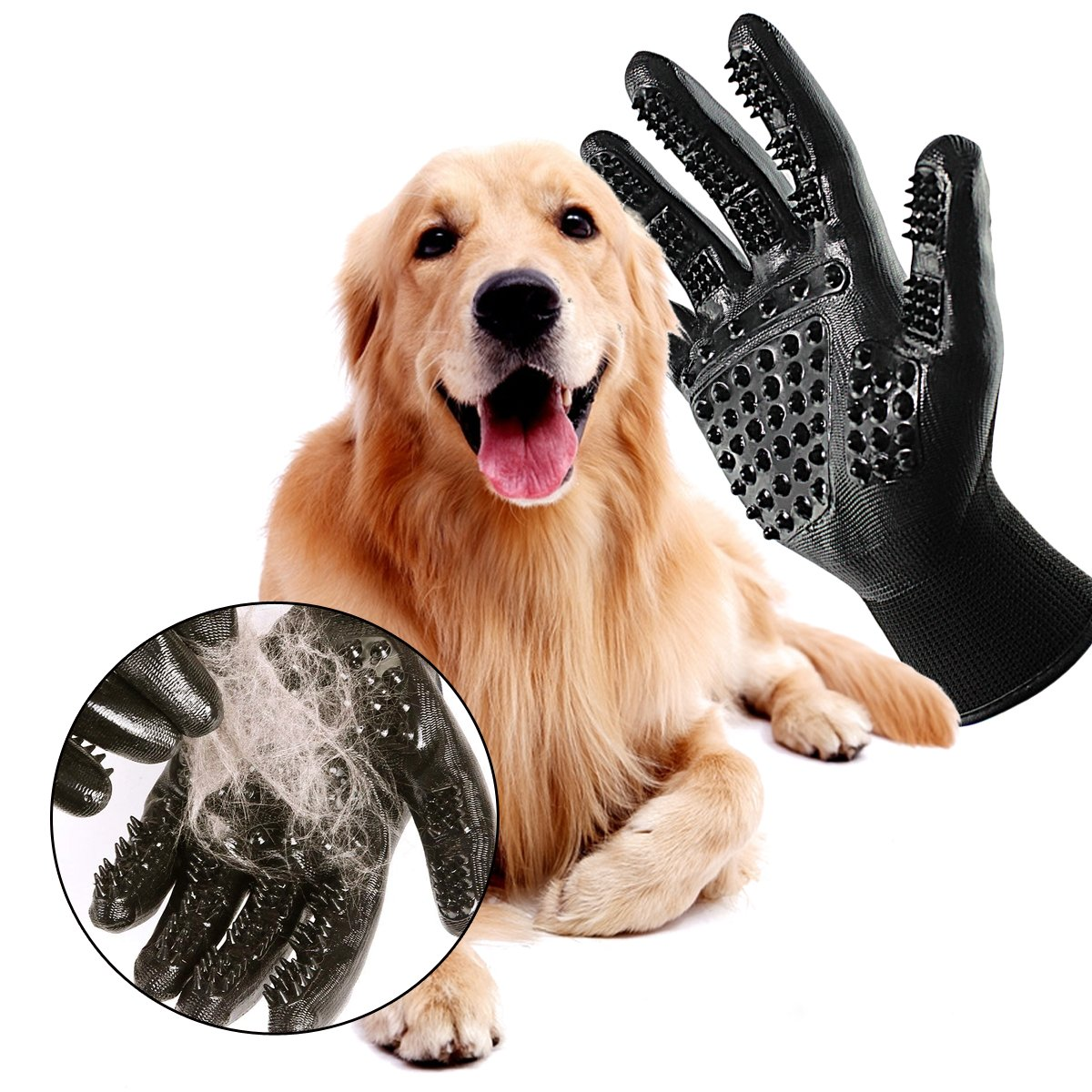 Swissdigital Pet Grooming Glove, Five Finger Deshedding Glove Brush Gloves for Dogs Cats Horses Grooming Tool Furniture Pet Hair Rmover Mitt, One Pair,Black