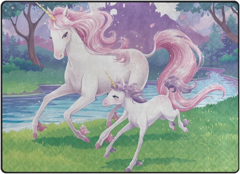 IMOBABY Pink Unicorn Area Rug