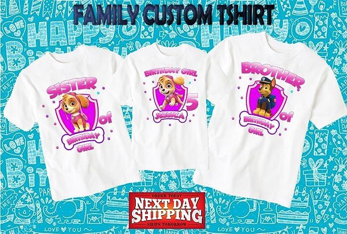 Amazon Paw Patrol Birthday Shirt Custom Tshirt Party Shirts Family Matching D1