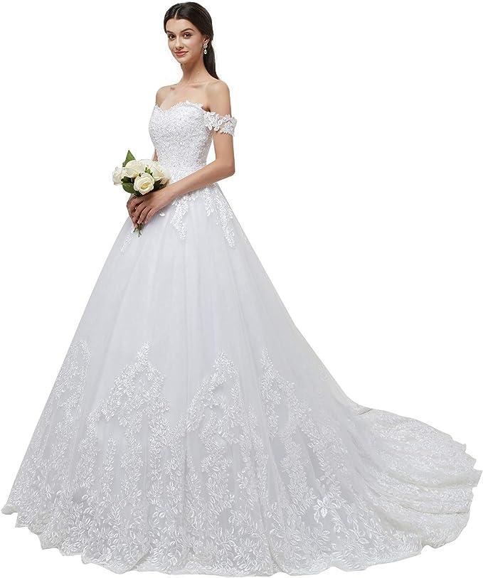 Amazon.com: Lazacos - Vestido de novia de encaje con botones ...