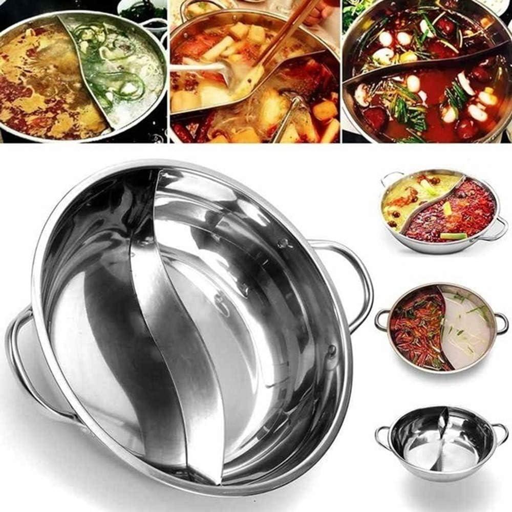 GUAIX Easy Clean Compatible Separator Cookware Kitchen Cooker Electric Stainless Steel Hot Pot Shabu Soup Stock Pot Cooking Pot(Dia.28/30cm)(28cm)