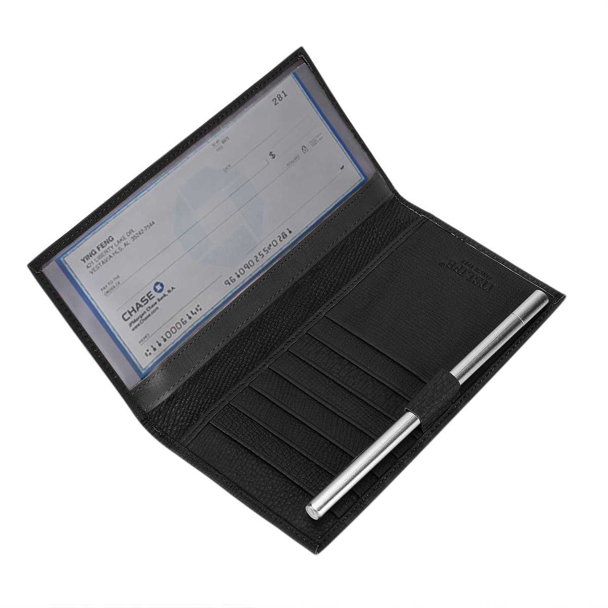 Itslife Leather Checkbook Cover with RFID Blocking Card Holder Wallet