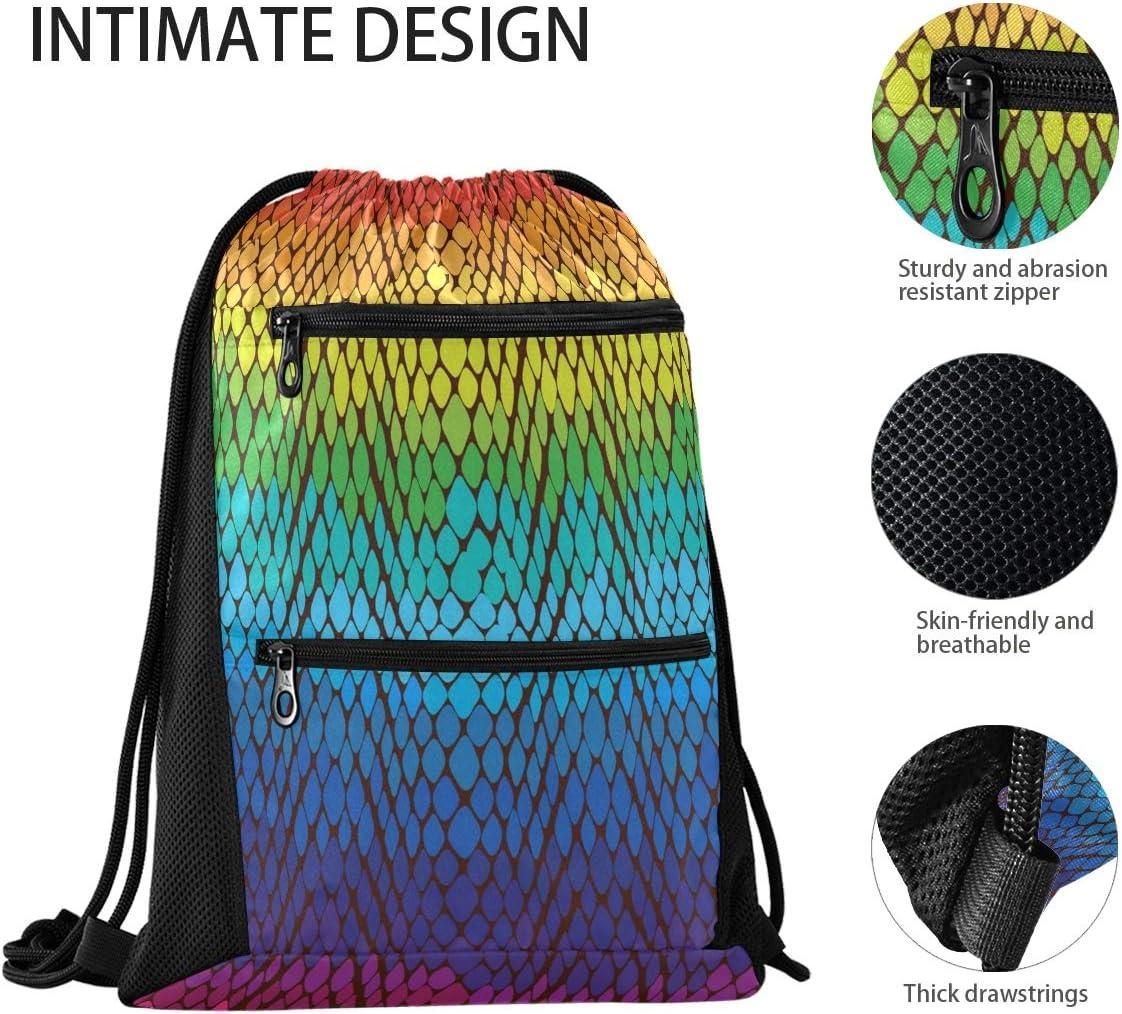 UNISE Rainbow Snake Skin Gym Drawstring Bags Sackpack Sports Backpack with Water Bottle Mesh Pockets for Men Women Girls