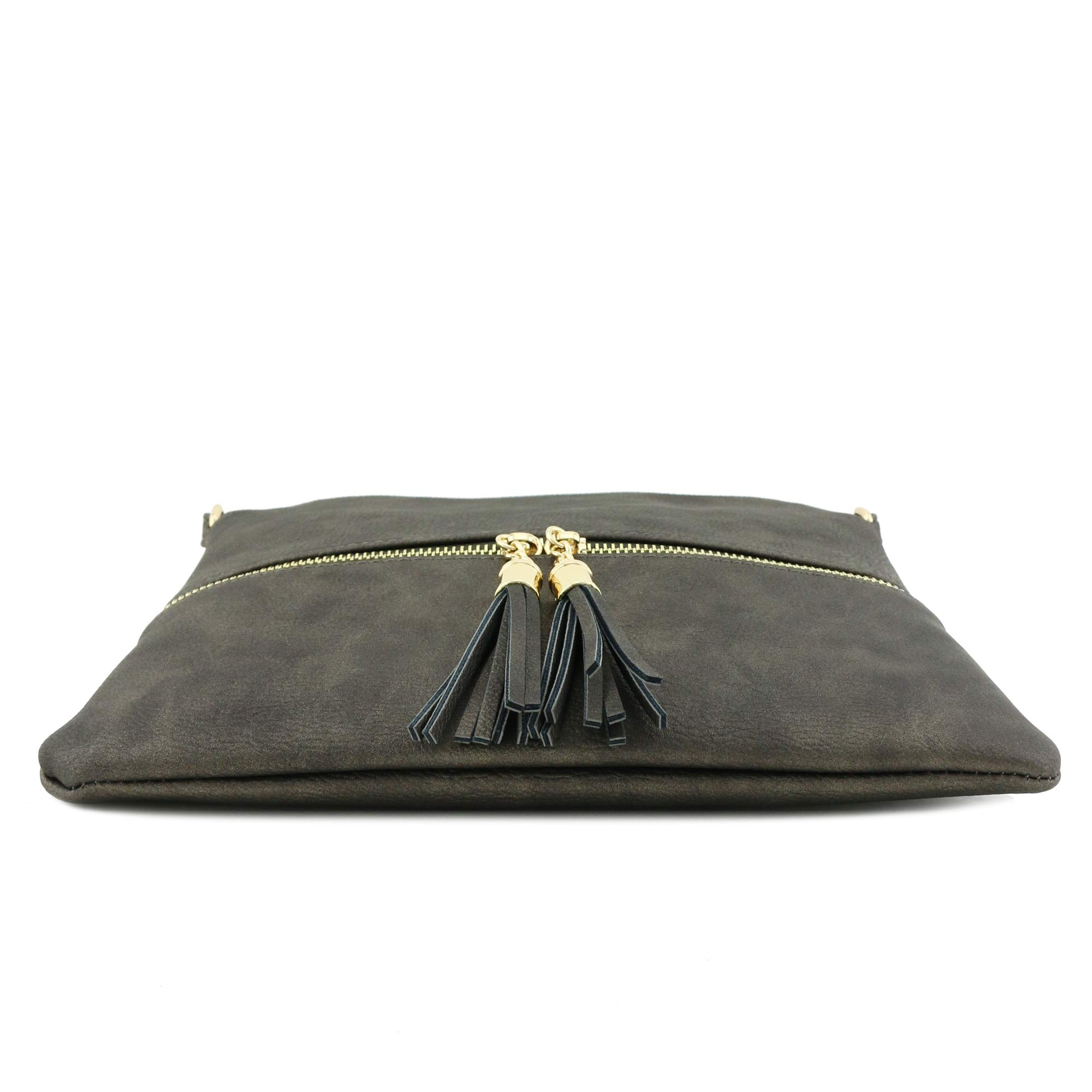 Lightweight Medium Crossbody Bag with Tassel (Pewter) by DELUXITY (Image #4)
