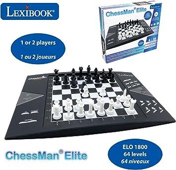 LEXIBOOK electrónico (CG1300) ChessMan Elite ajedrez inteligente, 64 niveles de dificultad, LED, juego de mesa infantil familiar, negro/blanco, color: Amazon.es: Juguetes y juegos