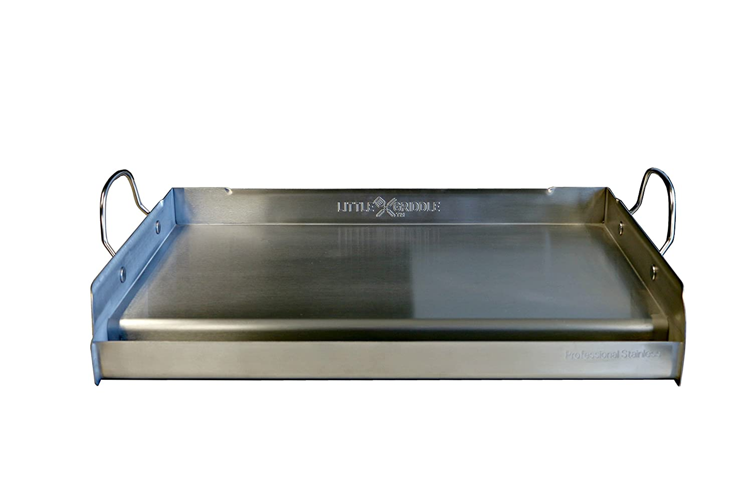 "Little Griddle GQ230 100% Stainless Steel Professional Quality Griddle with Even Heat Cross Bracing and Removable Handles for Charcoal/Gas Grills, Camping, Tailgating, and Parties (25""x16""x6.5"")"