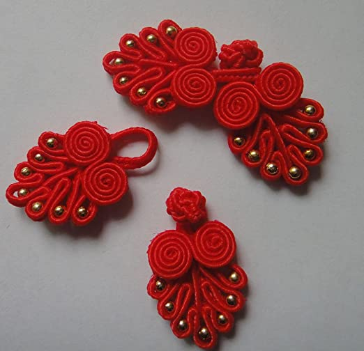 5pcs Beaded Chinese Frog Closure Buttons Knot Fastener Sewing Handmade Craft
