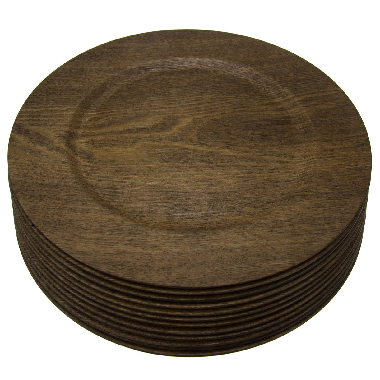 Amazon.com | 12 Pack Round 13 Inch Wooden Skin Charger Plates Gibson Home Dinner Servers Bulk Set Dinner Plates  sc 1 st  Amazon.com & Amazon.com | 12 Pack Round 13 Inch Wooden Skin Charger Plates Gibson ...