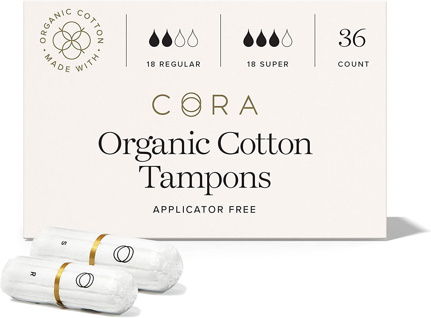 Cora Organic Cotton Non-Applicator Tampons Toxin Free 36 Count