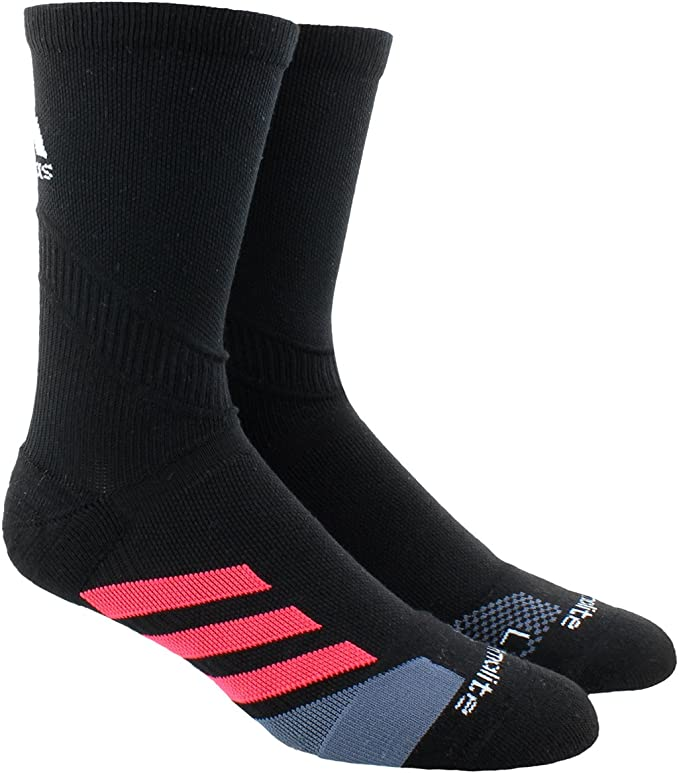 adidas Unisex Traxion Tennis Crew Sock (1-Pair), Black/Shock Red/Onix/White, Small, (Shoe Size 5-6.5)