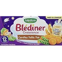 Blédina Blédîner Croissance Céréales Carottes Petits Pois dès 12 mois 2 x 250 ml - Pack de 6