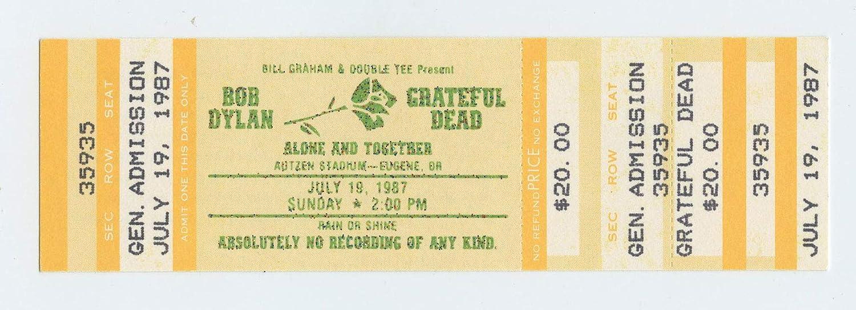 Bob Dylan Grateful Dead Ticket 1987 Jul 19 Eugene OR Unused