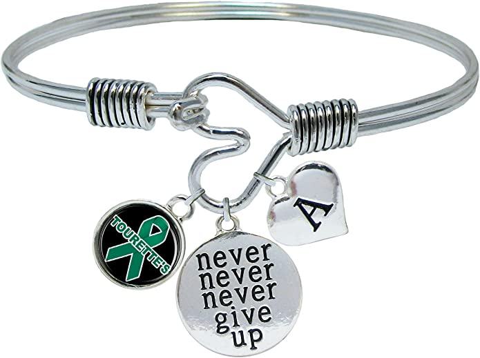 Tourettes  Awareness Jewellery Tourettes Wristband,Teal 8in Adult size