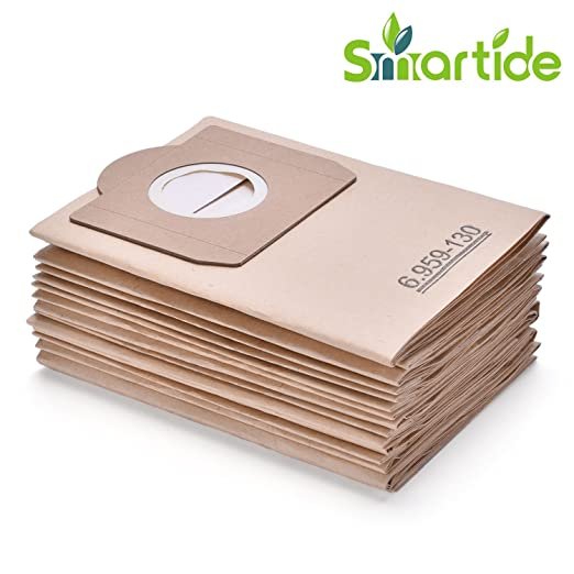 Smartide Bolsa de aspiradora adecuada para bolsas de filtro de papel Kärcher 6.959-130.0 (12 piezas) A 2201/2204/2504