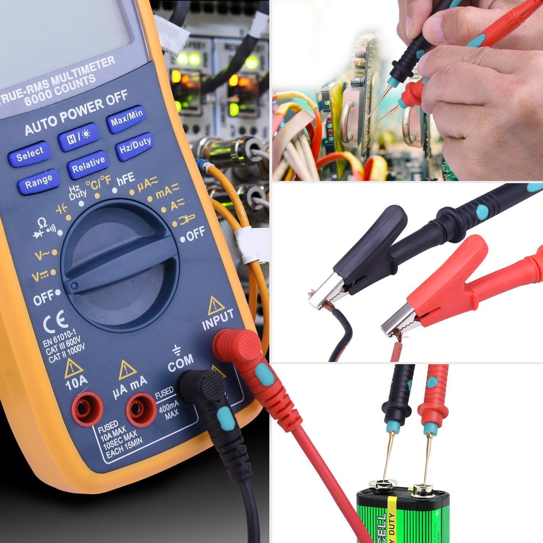 Test Leads Multimetro,COODEN Kit Puntali da Tester 24 in 1 con coccodrillo Clip Multimetro digitale Cavi di prova Multimetri per Elettricisti su Laboratorio scolastico CW06