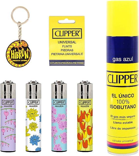 Image ofClipper 4 Mecheros Encendedores Diversos Surtidos Bonitos Baratos,1 Carga Gas Encendedor Clipper 300 Ml,9uds De Piedra Clipper Y 1 Llavero Hibron Gratis 1-10003-1