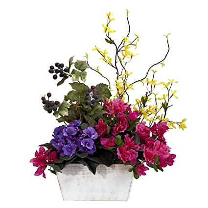 Amazon nearly natural 1270 mixed floral with azalea and white nearly natural 1270 mixed floral with azalea and white wash planter silk flower arrangement assorted mightylinksfo
