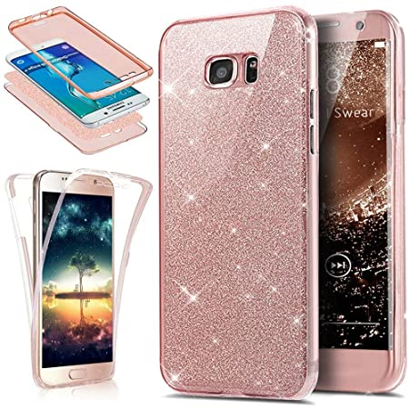 Kompatibel mit Galaxy A5 2017 Hülle Schutzhülle,Full-Body 360 Grad Bling Glänzend Glitzer Durchsichtige TPU Silikon Hülle Han