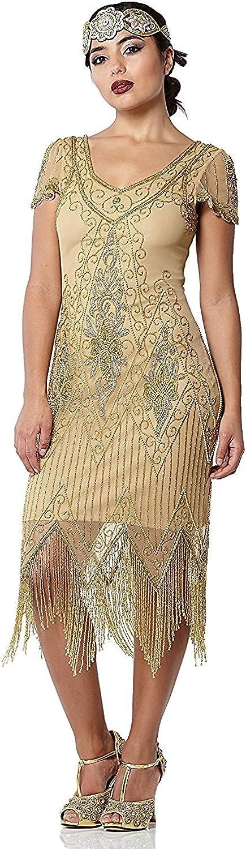 Find Downton Abbey Style Dresses in the UK gatsbylady london Annette Vintage Inspired Fringe Flapper Dress in Gold £89.00 AT vintagedancer.com