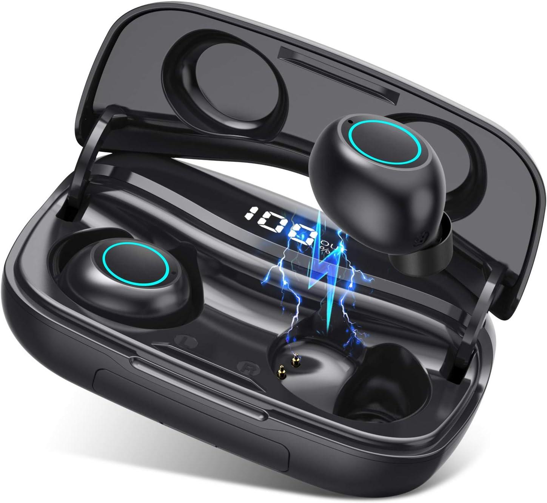Auriculares Bluetooth, VOOE TWS Auriculares Inalámbricos Bluetooth 5.0 Impermeable Auriculares Deportivos HiFi Mini Twins Estéreo In-Ear Auriculares con 3500mAh Caja de Carga para iPhone y Android