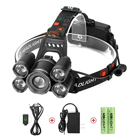 Bon LED Headlamps, Neolight Super Bright 5 LED High Lumen Rechargeable Zoomable  Waterproof Head Torch Headlight
