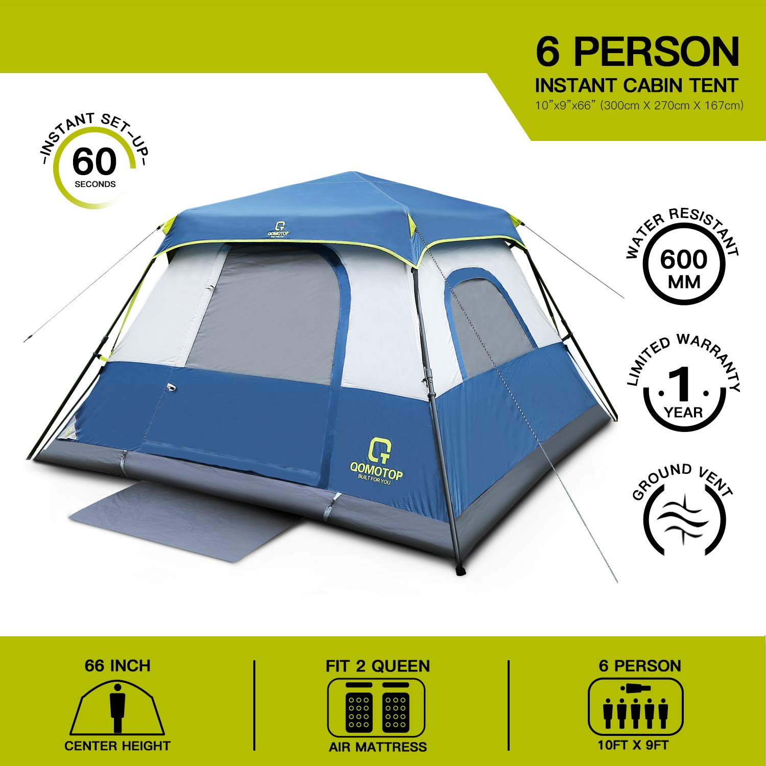 4//6//10 People Instant Set Up Within 1 Minute Tent Equipped with Rainfly and Carry Bag Water-Proof Pop up Tent with Electric Cord Acess QOMOTOP Camping Tents Light Weight Cabin Style Tent