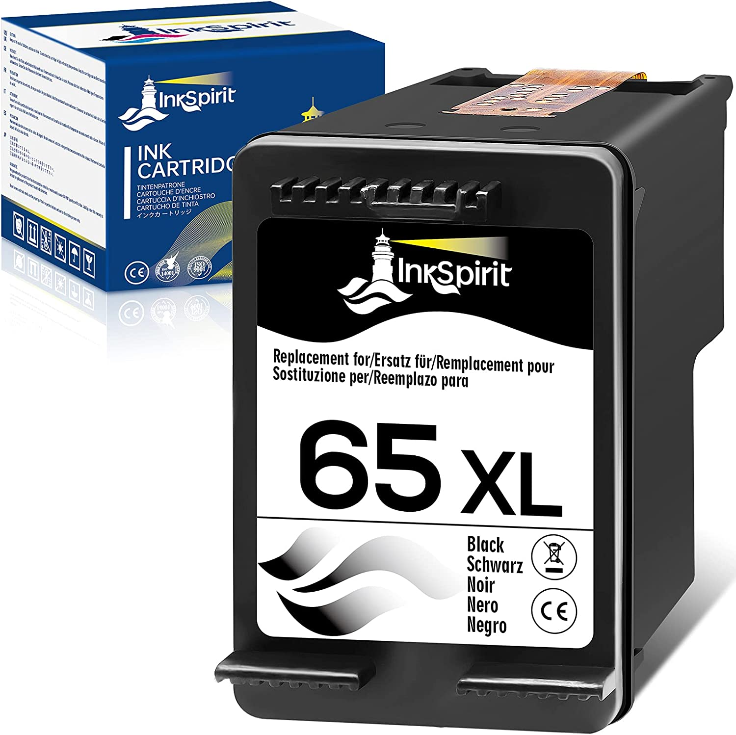 InkSpirit 65 Black Ink Cartridge Remanufactured Replacement for HP 65XL 65 XL N9K04AN Used in Envy 5052 5055 5012 5010 5020 5030 DeskJet 2600 2622 2652 3722 3755 3752 2635 2636 AMP 120 100 ,1-Pack