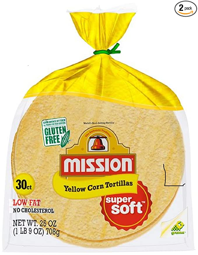Mission Yellow Corn Tortillas 30 Count 25oz Bag Pack Of 2 Amazon Com Grocery Gourmet Food