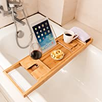 Captivating Valdler Home Wooden Bathtub Tray Caddy With Reading Rack And Wine Glass  Holder