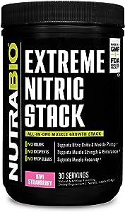 NutraBio Extreme Nitric Stack, Nitric Oxide and Cell Volumizing Formula (Kiwi Strawberry)