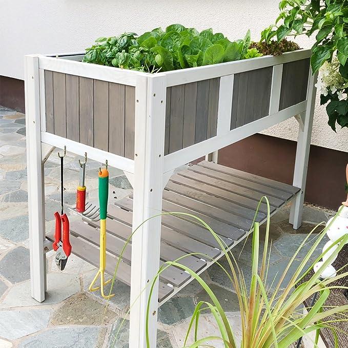 HABAU Klara Jardinera elevada, Blanco/Gris: Amazon.es: Jardín