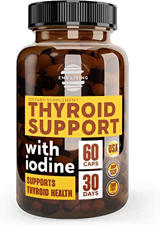 Thyroid Support Supplement with Iodine for Metabolism Booster, Natural Energy, Focus, Brain Fog, Anxiety Relief│ Premium Thyroid Complex with Ashwagandha, L Tyrosine, Vitamin B12