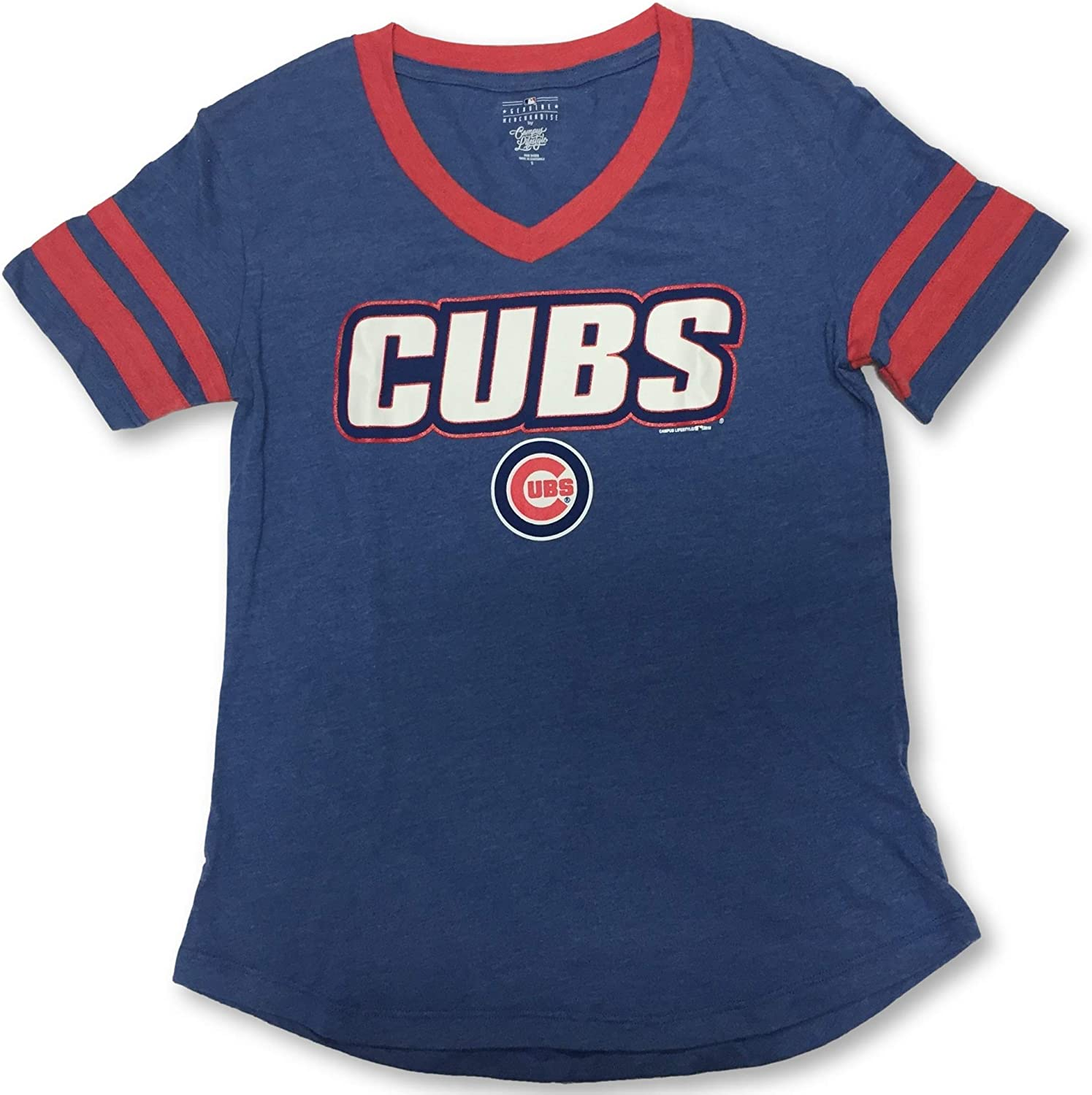 Campus Lifestyle Chicago Cubs Womens Blue V-Neck T-Shirt